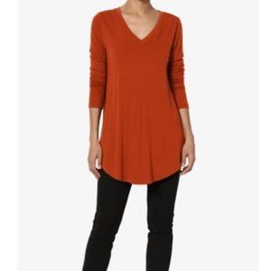 Adrianna Papell Waffle knit VNeck top XL